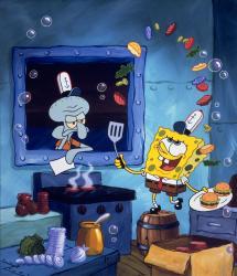 Spongebob v kalhotách obrazok